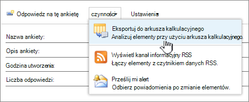 Ankiety przyciskiem Eksportuj do arkusza kalkulacyjnego wyróżnione