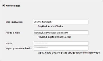 Ustawienia programu Outlook