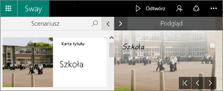 Zrzut ekranu przedstawiający okienka Scenariusz i Podgląd.