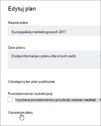 Z edytować planu, kliknij pozycję Usuń plan