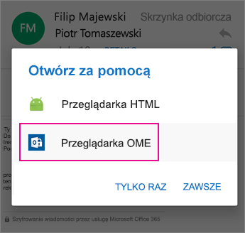 OME Viewer z programem Outlook dla systemu Android 2