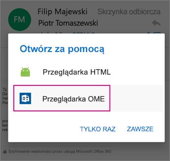 Przeglądarka OME z programem Outlook dla systemu Android 2
