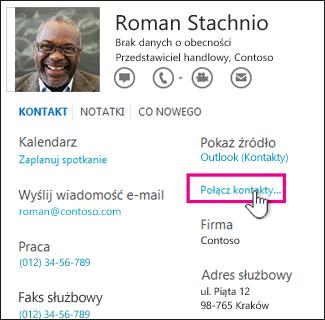 Przycisk Połącz kontakty na wizytówce