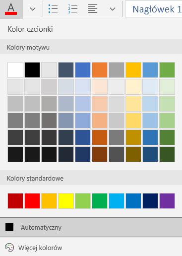 Opcje koloru czcionki w aplikacji Poczta dla systemu Windows 10
