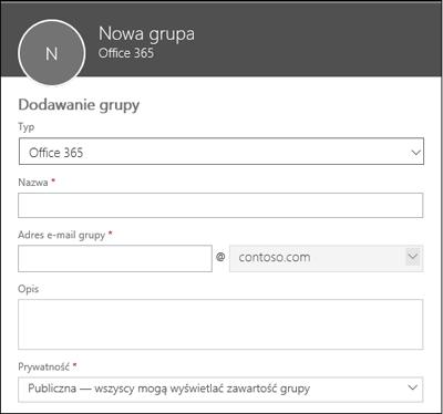 Tworzenie nowej grupy usługi Office 365, nowej listy dystrybucyjnej lub nowej grupy zabezpieczeń