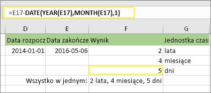 """=DATA.RÓŻNICA(D17;E17;""""md"""") i wynik: 5"""