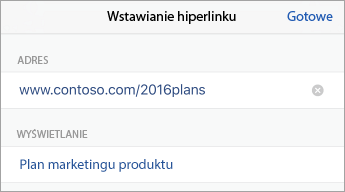 Polecenie Link z adresem URL i tekstem do wyświetlenia