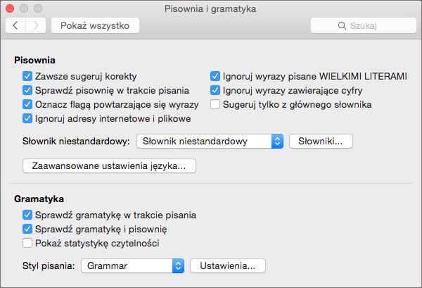 Zmienia ustawienia wpływające na sprawdzanie pisowni i gramatyki w oknie dialogowym Pisownia i gramatyka.