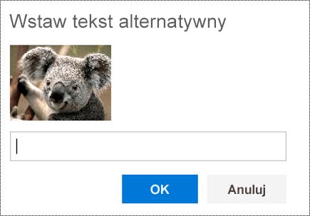 Dodawanie tekstu alternatywnego do obrazów w aplikacji Outlook w sieci Web.