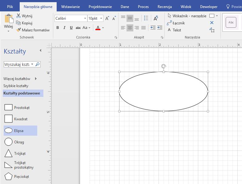 Przeciągnij kształt ze wzornika podstawowy na okienka rysunku.