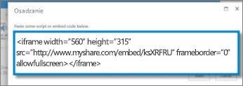 Zrzut ekranu: <iframe> kod osadzania klipu wideo skopiowanego z witryny udostępniania klipów wideo. Kod osadzania jest fikcyjny.