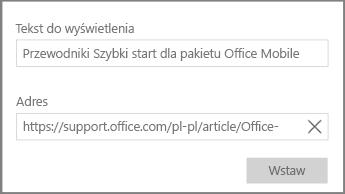 Zrzut ekranu przedstawiający okno dialogowe umożliwiające dodanie linku hipertekstowego w programie OneNote dla systemu Windows 10.