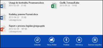 Pasek akcji aplikacji OneDrive dla Firm