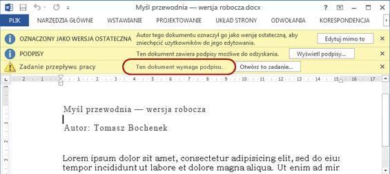 Tekst identyfikujący typ przepływu pracy w elemencie do przejrzenia