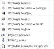 Opcje wyrównywania obiektu w programie Publisher 2010