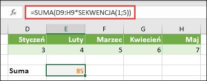 Używanie stałych tablicowych w formułach. W tym przykładzie użyto funkcji = Suma (D9: H (* sekwencja (1; 5)).