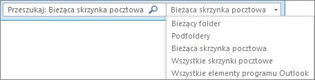 W programie Outlook użyj pola wyszukiwania albo wybierz listę skrzynek pocztowych lub folder, aby znaleźć grupę Zakres.