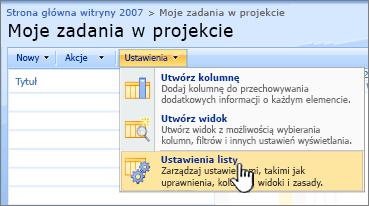 Kliknij przycisk Ustawienia kliknij przycisk Ustawienia listy
