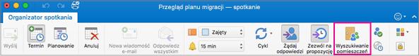 Wstążka programu Outlook z wyróżnionym przyciskiem Wyszukiwanie pomieszczeń