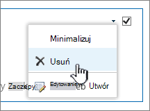 Na liście ustawień części aplikacji z wyróżnioną pozycją Usuń