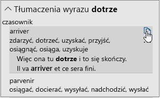 Opcje tłumaczenia wyrazu