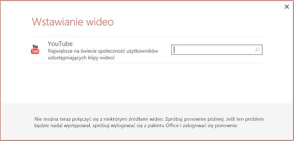 Okno dialogowe Wstawianie klipu wideo w trybie online w programie PowerPoint 2013.