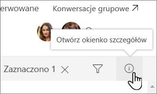 Zrzut ekranu okienka Szczegóły listy