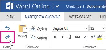 Ponowne wprowadzanie zmiany w aplikacji Word Online