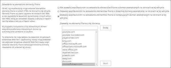 Zezwalanie na elementy iFrame z tej domeny