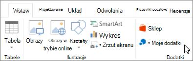 Zrzut ekranu przedstawiający część karta Wstawianie na wstążce programu Word z kursorem wskazującym Moje ubezp Dodaj wybierz pozycję Moje dodatki uzyskiwać dostęp do dodatków dla programu Word.