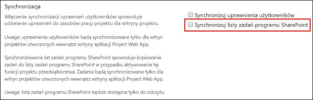 Synchronizowanie listy zadań programu SharePoint