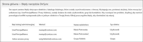Strona Błędy narzędzia DirSync