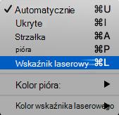 Wybierz z menu podręcznego wskaźnika laserowego