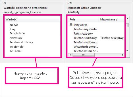 Okno dialogowe Mapowanie pól niestandardowych
