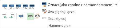 Przycisk Połącz w grupie Harmonogram na karcie Zadanie