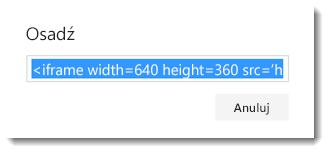 Kod osadzania klipu wideo usługi Office 365