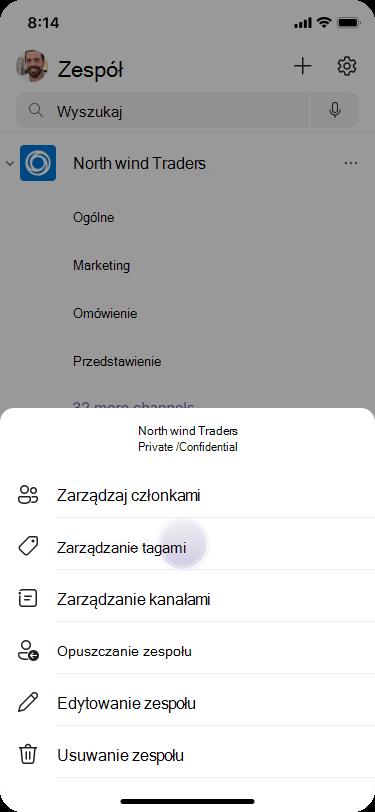 Zarządzanie tagami w aplikacji Teams przy użyciu systemu iOS