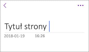 Zmienianie nazwy strony w aplikacji OneNote dla systemu iOS