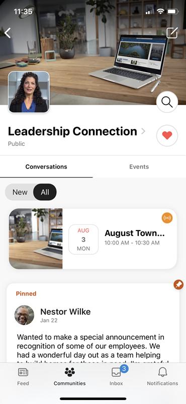 Zrzut ekranu przedstawiający transparent grupy usługi Yammer dla wydarzeń na żywo