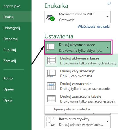 W menu rozwijanym Ustawienia określ, co ma być drukowane.