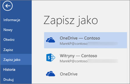 Zapisywanie dokumentu programu Word w usłudze OneDrive dla Firm