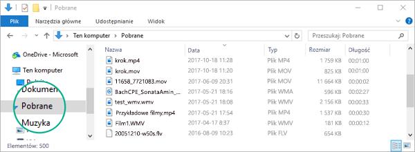 Przekonwertowany plik jest kopiowany do folderu Pobrane na komputerze