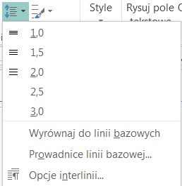 Zrzut ekranu przedstawiający sposób zmieniania interlinii w programie Publisher.