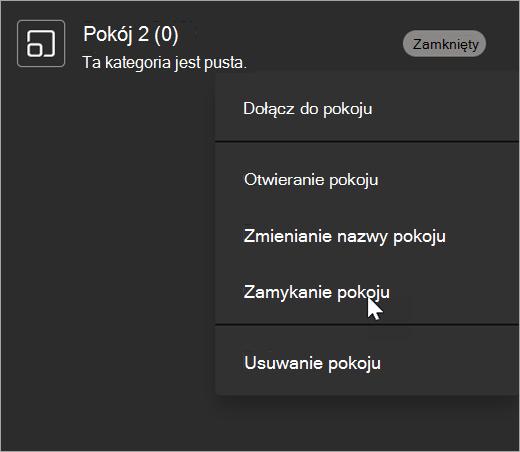Lista rozwijana w obszarze Osobny pokój z zaznaczonym wyborem Zamknij.