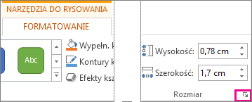 Przycisk uruchamiania okna dialogowego w grupie Rozmiar na karcie Narzędzia do rysowania > Formatowanie
