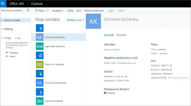 Oto jak wyglądają zaimportowane kontakty w aplikacji Outlook w sieci Web.