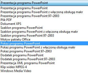 Zapisywanie prezentacji jako pokazu programu PowerPoint