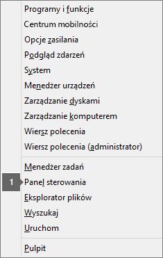 Lista opcji i poleceń wyświetlana po naciśnięciu klawisza logo Windows i klawisza X