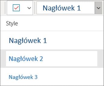 Lista nagłówków w aplikacji OneNote dla systemu Windows 10