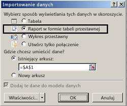Okno dialogowe Opcje importowania